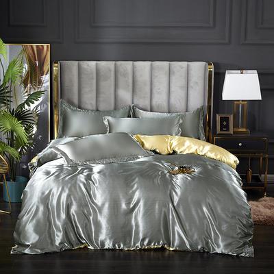 2021热款冰丝真丝四件套 1.2m床单款四件套 银灰驼