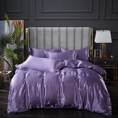 2021爆款热卖冰丝真丝四件套-常年有货--单被套 180x220cm 典雅紫