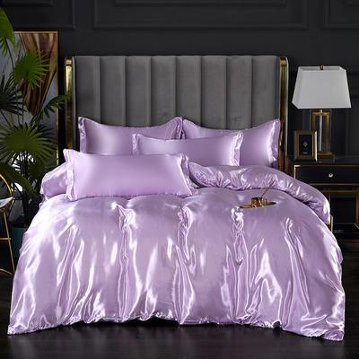 2021热款冰丝真丝四件套--单被套 180x220cm 香芋紫