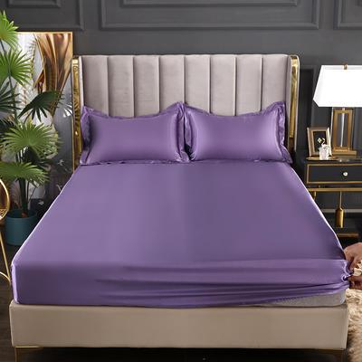 2021爆款热卖冰丝真丝四件套-常年有货--单床笠 150*200cm 典雅紫