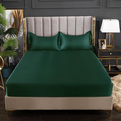 2021爆款热卖冰丝真丝四件套-常年有货--单床笠 150*200cm 翡翠绿