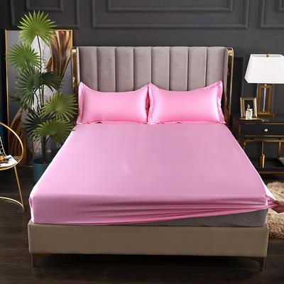 2021爆款热卖冰丝真丝四件套-常年有货--单床笠 150*200cm 粉色