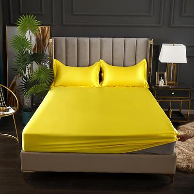 2021爆款热卖冰丝真丝四件套-常年有货--单床笠 150*200cm 贵族黄