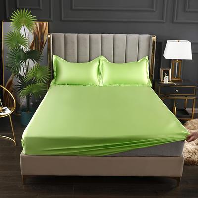 2021爆款热卖冰丝真丝四件套-常年有货--单床笠 150*200cm 果绿