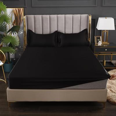 2021爆款热卖冰丝真丝四件套-常年有货--单床笠 150*200cm 黑色