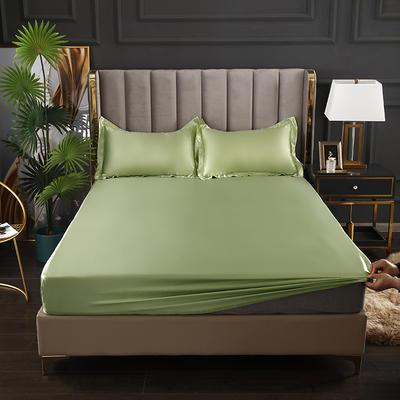 2021爆款热卖冰丝真丝四件套-常年有货--单床笠 150*200cm 琥珀绿