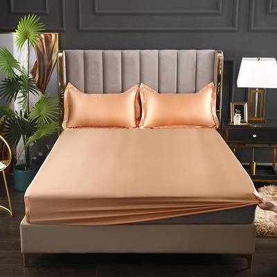 2021爆款热卖冰丝真丝四件套-常年有货--单床笠 150*200cm 姜黄色