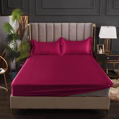 2021爆款热卖冰丝真丝四件套-常年有货--单床笠 150*200cm 酒红色