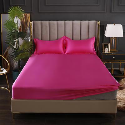 2021爆款热卖冰丝真丝四件套-常年有货--单床笠 150*200cm 玫红色