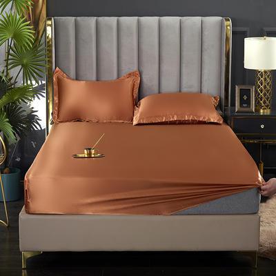 2021爆款热卖冰丝真丝四件套-常年有货--单床笠 150*200cm 浅咖啡