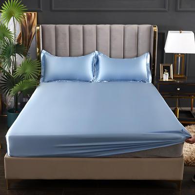 2021爆款热卖冰丝真丝四件套-常年有货--单床笠 150*200cm 浅蓝色