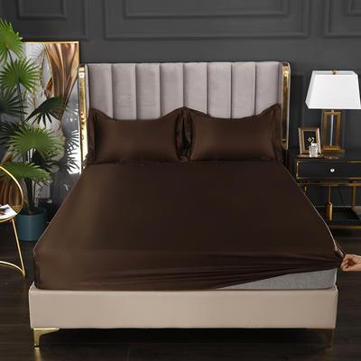 2021爆款热卖冰丝真丝四件套-常年有货--单床笠 150*200cm 深咖啡
