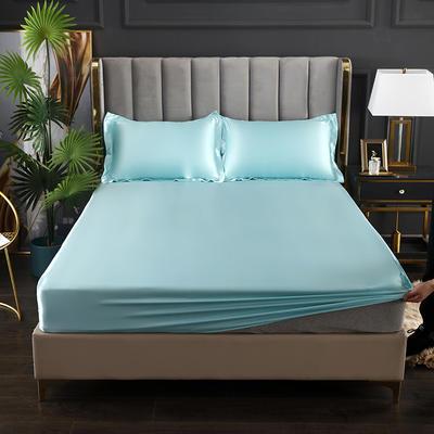 2021爆款热卖冰丝真丝四件套-常年有货--单床笠 150*200cm 水蓝色