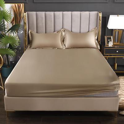 2021热款冰丝真丝四件套--单床笠 150*200cm 香槟金