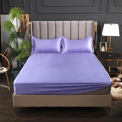 2021爆款热卖冰丝真丝四件套-常年有货--单床笠 150*200cm 雪青色