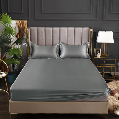 2021爆款热卖冰丝真丝四件套-常年有货--单床笠 150*200cm 银灰色