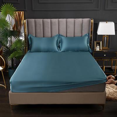 2021爆款热卖冰丝真丝四件套-常年有货--单床笠 150*200cm 月光蓝