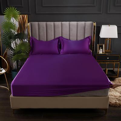 2021爆款热卖冰丝真丝四件套-常年有货--单床笠 150*200cm 紫罗兰