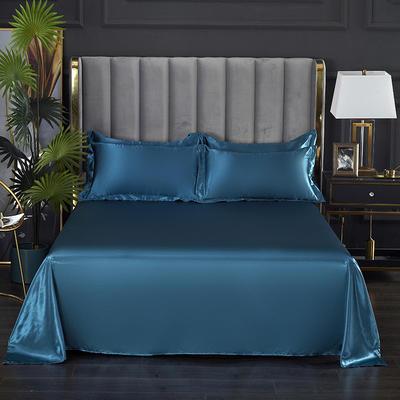2021爆款热卖冰丝真丝四件套-常年有货--单床单 230*250cm 巴黎蓝