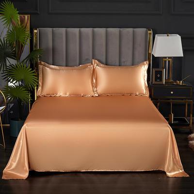2021热款冰丝真丝四件套--单床单 230*250cm 姜黄色