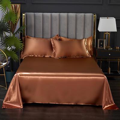 2021热款冰丝真丝四件套--单床单 230*250cm 浅咖啡