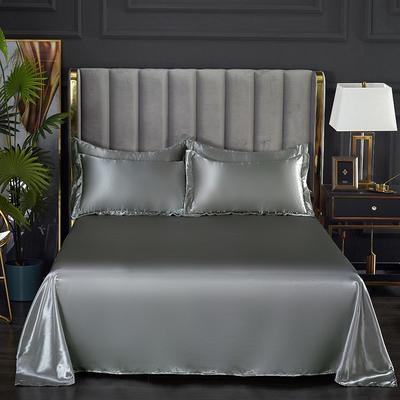 2021热款冰丝真丝四件套--单床单 230*250cm 银灰色