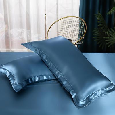 2021热款冰丝真丝四件套--单枕套 48*74cm/只 藏蓝色
