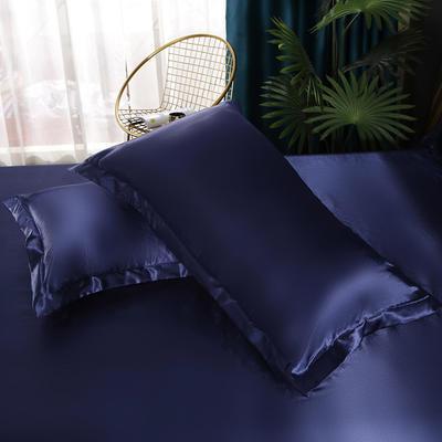 2021爆款热卖冰丝真丝四件套-常年有货-单枕套 48*74cm/对 藏蓝色
