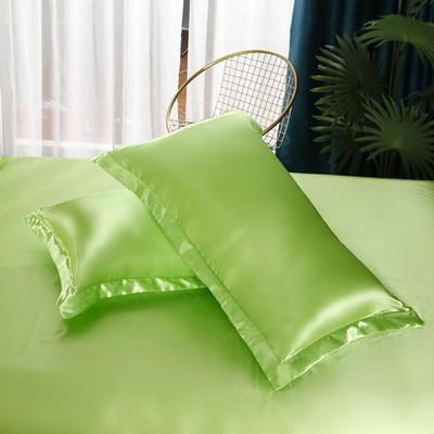 2021爆款热卖冰丝真丝四件套-常年有货-单枕套 48*74cm/对 果绿