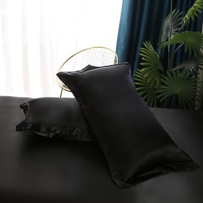 2021爆款热卖冰丝真丝四件套-常年有货-单枕套 48*74cm/对 黑色