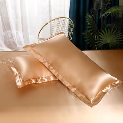 2021爆款热卖冰丝真丝四件套-常年有货-单枕套 48*74cm/对 姜黄色