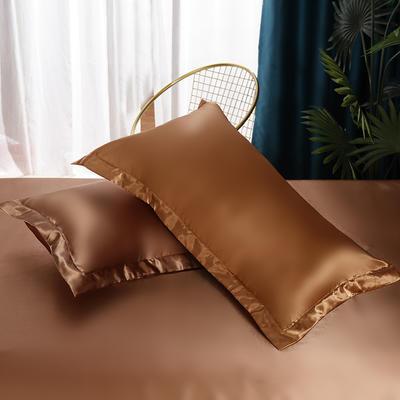 2021热款冰丝真丝四件套--单枕套 48*74cm/对 深咖啡