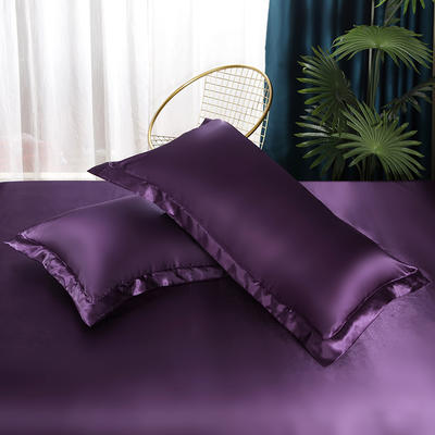 2021热款冰丝真丝四件套--单枕套 48*74cm/对 水晶紫
