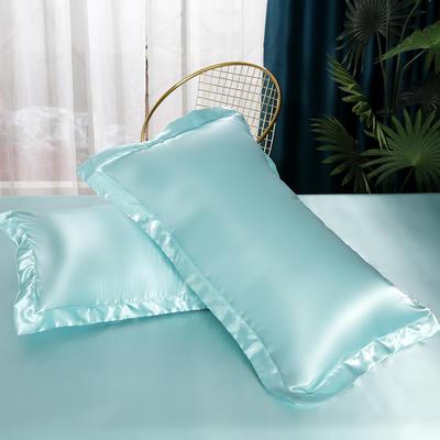 2021爆款热卖冰丝真丝四件套-常年有货-单枕套 48*74cm/对 水蓝色