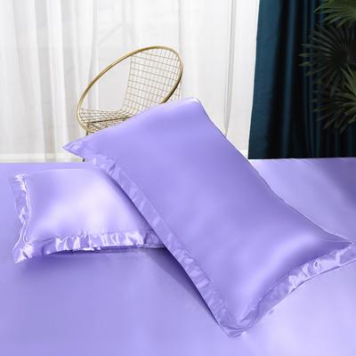 2021热款冰丝真丝四件套--单枕套 48*74cm/对 雪青色