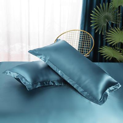2021热款冰丝真丝四件套--单枕套 48*74cm/对 月光蓝