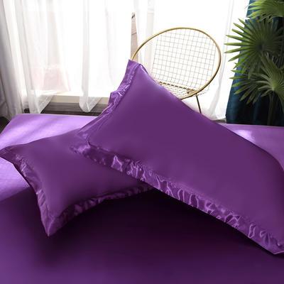 2021热款冰丝真丝四件套--单枕套 48*74cm/对 紫罗兰