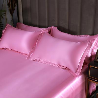2021爆款热卖冰丝真丝四件套-常年有货-单枕套 48*74cm/对 粉色