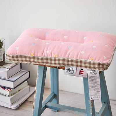 2018新款六层纱布可水洗儿童枕 爱心-粉30*50cm