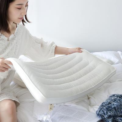 2019新—超柔绒超低枕咖色羽丝绒成人枕 白色48*74cm