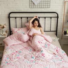 风尚全棉冬被模特图 150x200cm 夏花依依  红