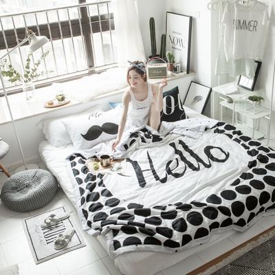 2018春夏新品-大版全棉夏被(模特图) 200X230cm 黑白配