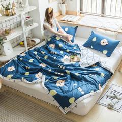 风尚全棉夏被(小清新系列模特图) 150*200cm 布朗熊蓝