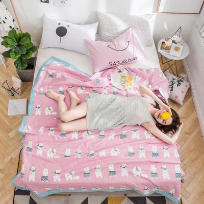 全棉纱布棉花夏被 150*200cm 可爱熊粉
