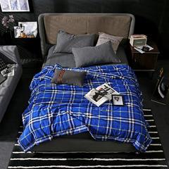 2018新款-全棉色织水洗夏被 200*230cm 初夏蓝
