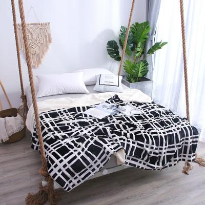 2018新款羊羔绒毛毯系列 毛毯毯子 150*200 黑白线条格子羊羔