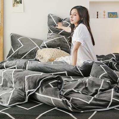 2019新款牛奶絨四件套 1.2m(4英尺)床單款三件套 幾何灰