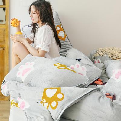 2019新款牛奶絨四件套 1.2m(4英尺)床單款三件套 可愛貓爪