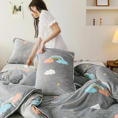 2019新款牛奶绒四件套 1.8m(6英尺)床单款 云朵彩虹