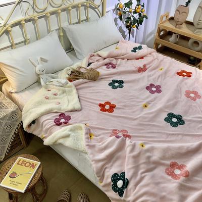 2019新款牛奶绒羊羔绒毯 1.5*2 粉底小花
